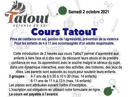 Cours TatouT - 2 nouvelles sessions